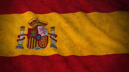 spanish flag: Grunge Flag of Spain - Dirty Spanish Flag 3D Illustration