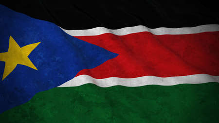 south sudan: Grunge Flag of South Sudan - Dirty South Sudanese Flag 3D Illustration