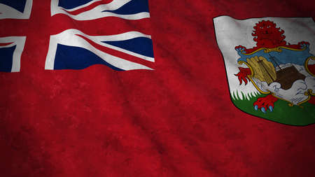 Grunge Flag of Bermuda - Dirty Bermudian Flag 3D Illustration