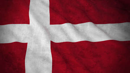 grime: Grunge Flag of Denmark - Dirty Danish Flag 3D Illustration