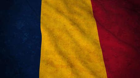 chad: Grunge Flag of Chad - Dirty Chadian Flag 3D Illustration