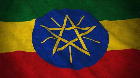 national flag ethiopia: Grunge Flag of Ethiopia - Dirty Ethiopian Flag 3D Illustration