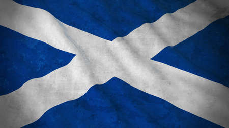 scottish flag: Grunge Flag of Scotland - Dirty Scottish Flag 3D Illustration Archivio Fotografico
