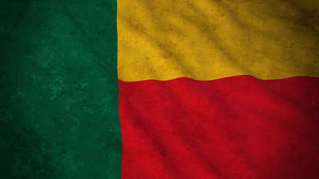 grime: Grunge Flag of Benin - Dirty Beninese Flag 3D Illustration