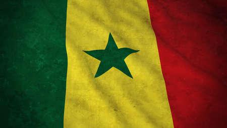 senegalese: Grunge Flag of Senegal - Dirty Senegalese Flag 3D Illustration