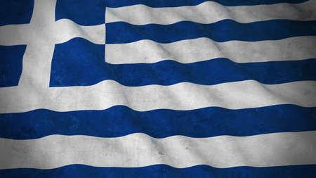 greek flag: Grunge Flag of Greece - Dirty Greek Flag 3D Illustration