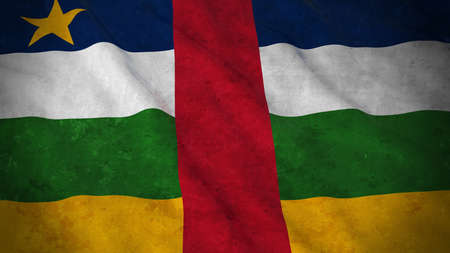 central african republic: Grunge Flag of Central African Republic - Dirty Central African Flag 3D Illustration