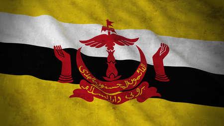 Grunge Flag of Brunei - Dirty Bruneian Flag 3D Illustration Stock Photo