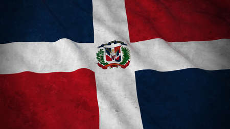 dominican republic: Grunge Flag of the Dominican Republic - Dirty Dominican Flag 3D Illustration Stock Photo