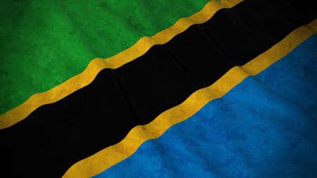 Grunge Flag of Tanzania - Dirty Tanzanian Flag 3D Illustration