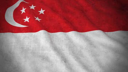 singaporean flag: Grunge Flag of Singapore - Dirty Singaporean Flag 3D Illustration