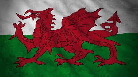 Bandiera del Galles di Galles - illustrazione sporca della bandiera 3D di Lingua gallese