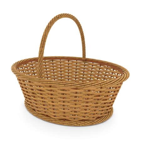 空枝編み細工品バスケット ホワイト バック グラウンド 3 D イラストを分離