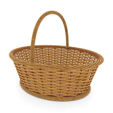 Empty Wicker Basket Isolated on White Background 3D Illustration