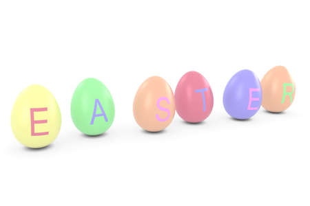 Coloured Easter Eggs Spelling Out Easter 3D Illustration