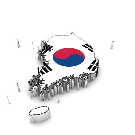 South Korea Map Outline with South Korean Flag 3D Illustration
