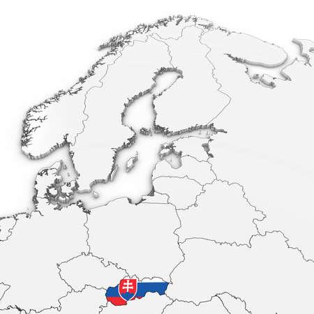 3D-kaart van Slowakije met Slowaakse vlag op witte achtergrond 3D illustratie