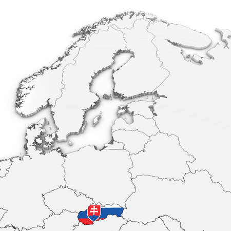 3D Map of Slovakia with Slovakian Flag on White Background 3D Illustration
