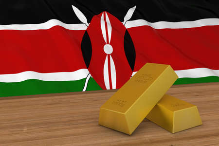 Kenya Finance Concept - Gold Bars in front of Kenyan Flag 3D Illustration