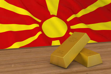 Macedonia Finance Concept - Gold Bars in front of Macedonian Flag 3D Illustration Stock Photo