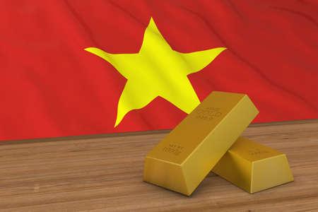 Vietnam Finance Concept - Gold Bars in front of Vietnamese Flag 3D Illustration