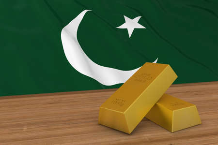 flag of pakistan: Pakistan Finance Concept - Gold Bars in front of Pakistani Flag 3D Illustration