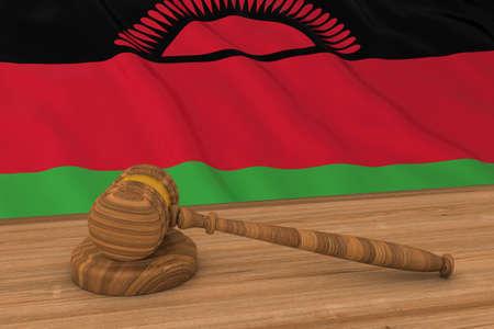 malawian flag: Malawian Law Concept - Flag of Malawi Behind Judges Gavel 3D Illustration