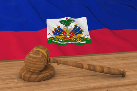 courthouse: Haitian Law Concept - Flag of Haiti Behind Judges Gavel 3D Illustration