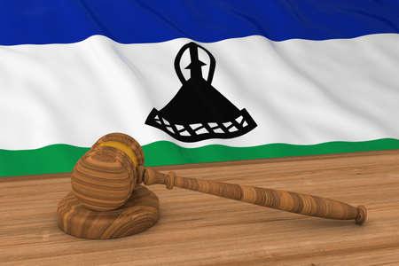 Basotho Law Concept - Flag of Lesotho Behind Judges Gavel 3D Illustration Stock Photo