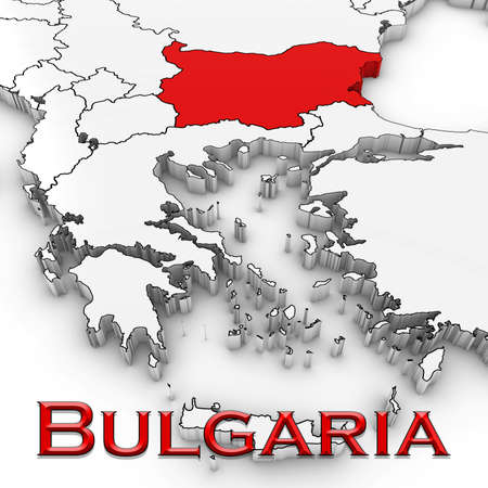 3D Map of Bulgaria with Country Name Highlighted Red on White Background 3D Illustration Stock Photo