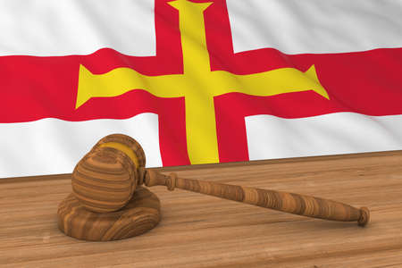Channel Islands Law Concept - Flag of Guernsey Behind Judges Gavel 3D Illustration Stock Photo
