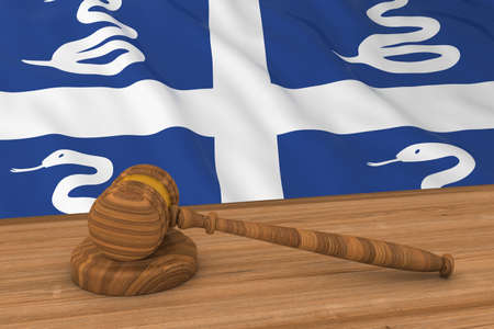 martinique: Martinican Law Concept - Flag of Martinique Behind Judges Gavel 3D Illustration Stock Photo