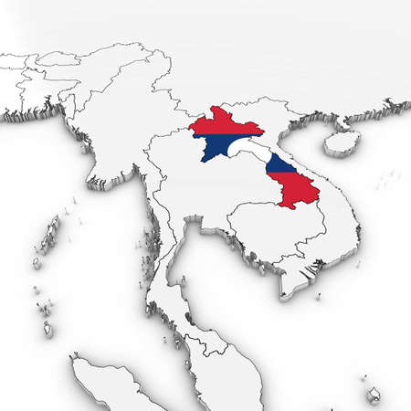 3D Map of Laos with Laotian Flag on White Background 3D Illustration Stock Photo