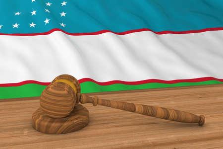 courthouse: Uzbekistani Law Concept - Flag of Uzbekistan Behind Judges Gavel 3D Illustration Stock Photo