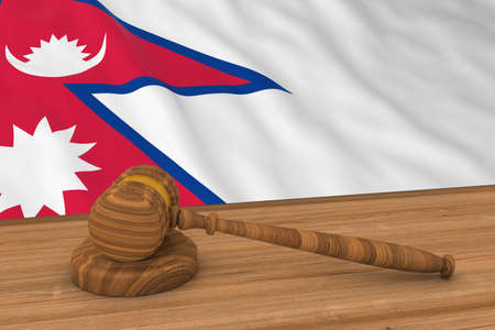 Nepalese Law Concept - Flag of Nepal Behind Judges Gavel 3D Illustration Stock Photo