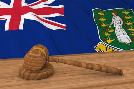 virgin islands: Flag of The British Virgin Islands Behind Judges Gavel 3D Illustration Stock Photo