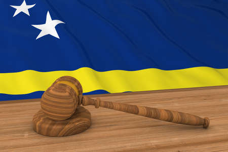 Curacaoan Law Concept - Flag of Curacao Behind Judges Gavel 3D Illustration Stock Photo
