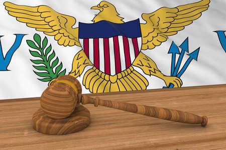 virgin islands: US Virgin Islands Flag Behind Judges Gavel 3D Illustration Stock Photo