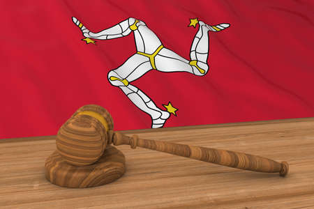 courthouse: Manx Law Concept - Flag of Isle of Man Behind Judges Gavel 3D Illustration