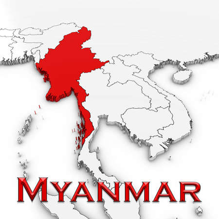 burmese: 3D Map of Myanmar with Country Name Highlighted Red on White Background 3D Illustration Stock Photo