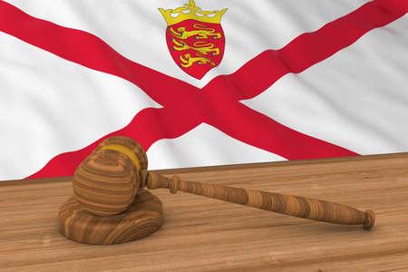 Channel Islands Law Concept - Flag of Jersey Behind Judges Gavel 3D Illustration