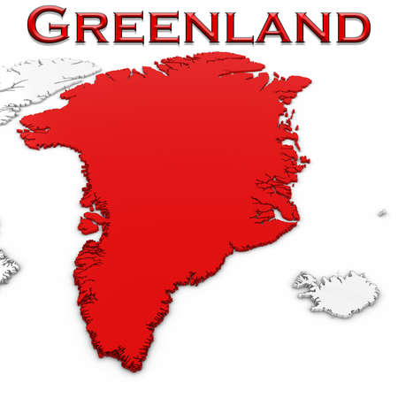 greenlandic: 3D Map of Greenland with Country Name Highlighted Red on White Background 3D Illustration