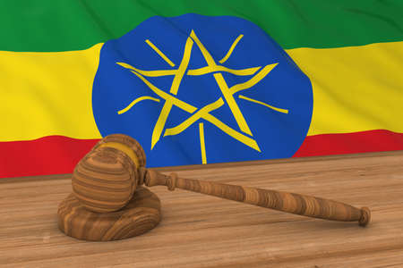 national flag ethiopia: Ethiopian Law Concept - Flag of Ethiopia Behind Judges Gavel 3D Illustration