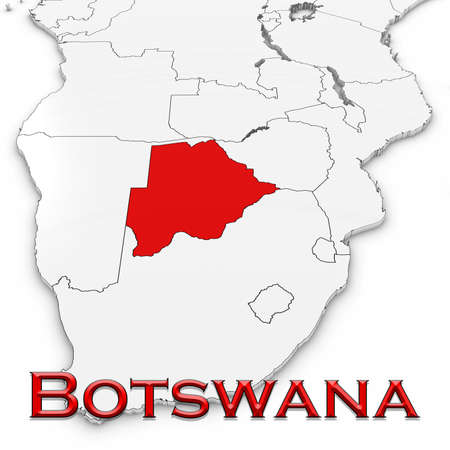 botswanan: 3D Map of Botswana with Country Name Highlighted Red on White Background 3D Illustration Stock Photo