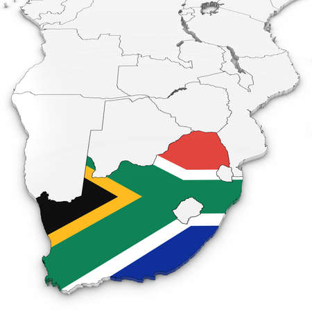 白い背景の 3 D イラストを南アフリカの国旗を持つ南アフリカの 3 D マップ 写真素材