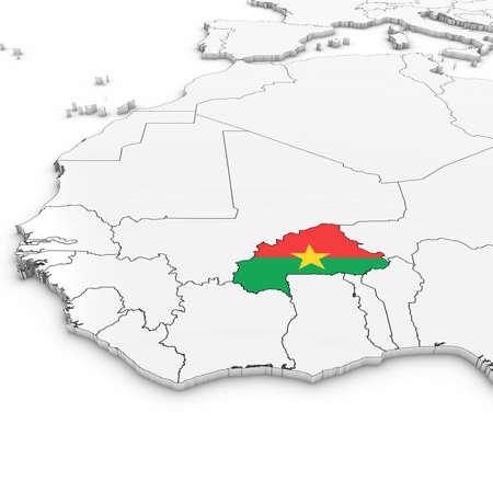 白い背景の 3 D イラストを Burkinabe フラグとブルキナファソの 3 D マップ