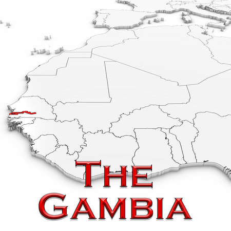 3D Map of Gambia with Country Name Highlighted Red on White Background 3D Illustration