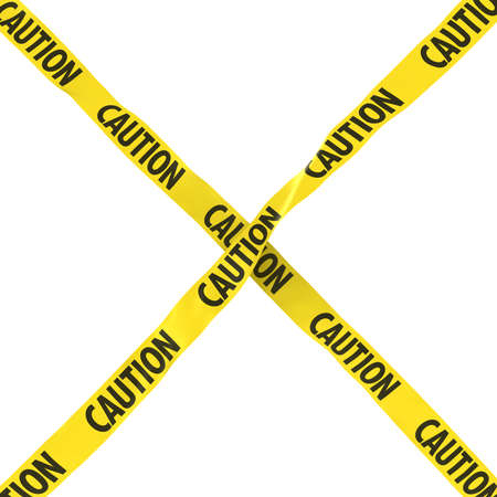 cordon: Caution Barrier Tape Yellow and Black Cross Isolated on White Background 3D Illustration