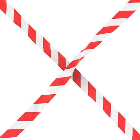 Red and White Striped Barrier Tape Cross Isolated on White Background 3D Illustration 版權商用圖片