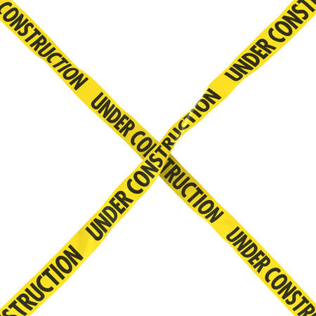 Under Construction Barrier Tape Yellow and Black Cross Isolated on White Background 3D Illustration